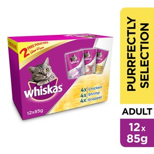 Whiskas Purrfectly Selection Pouch Multipack 85g x 10 +2free