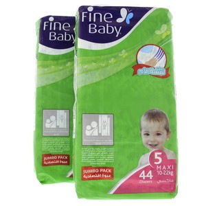 Fine Baby Diapers Size 5,Maxi,10-22kg, Jumbo Pack 44 Counts x 2pcs