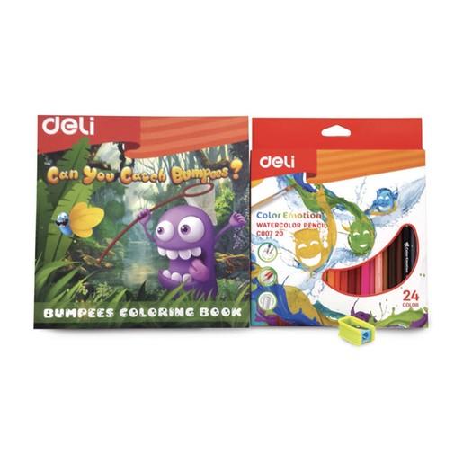 Buy Deli Color Pencil 24 + Sharpener + Color Book Online ...