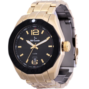 Tornado Men's Analog Watch Black Dial Stainless Steel Gold Band T5023-GBGB