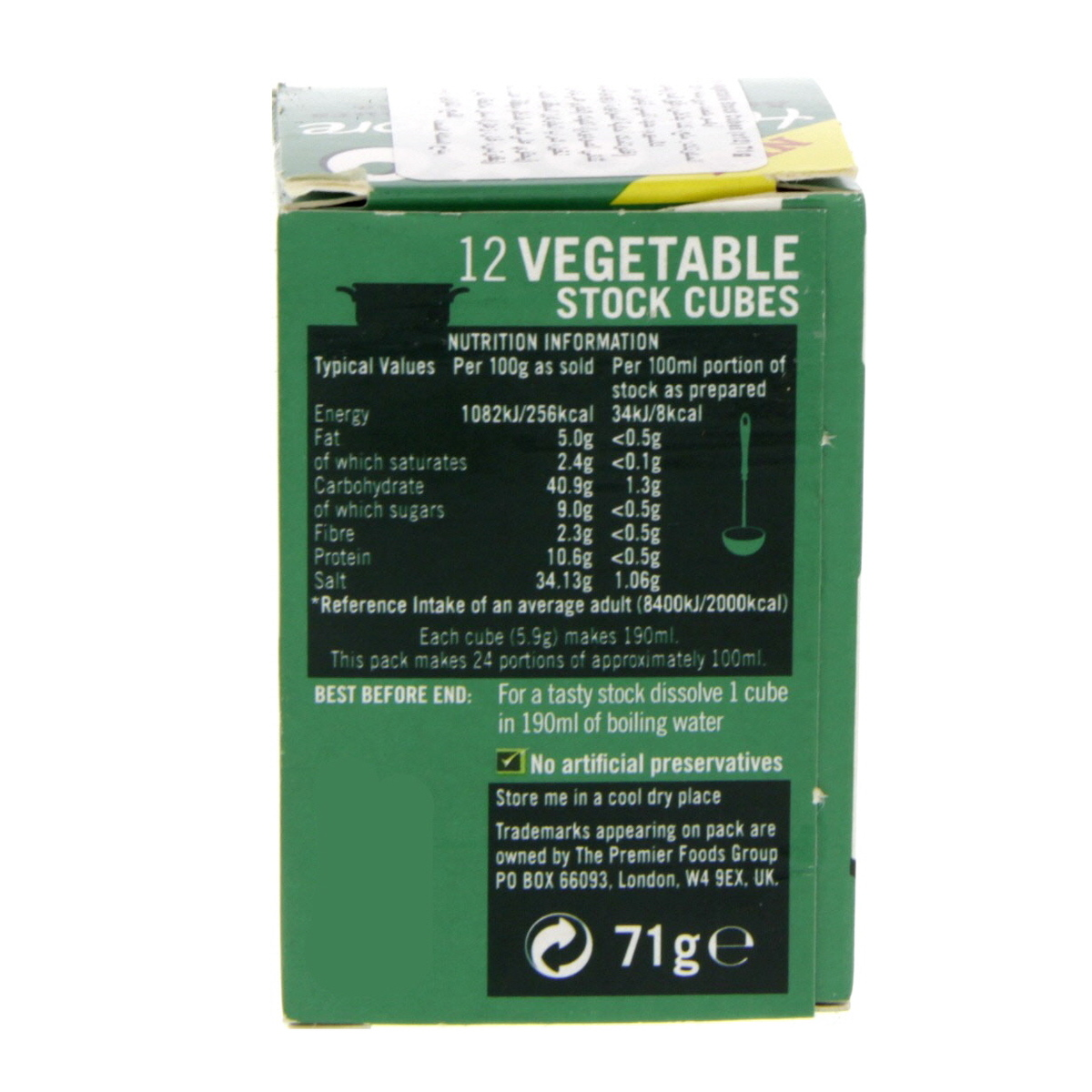 Buy Oxo Vegetable Stock Cubes 12 x 71g - Bouillons