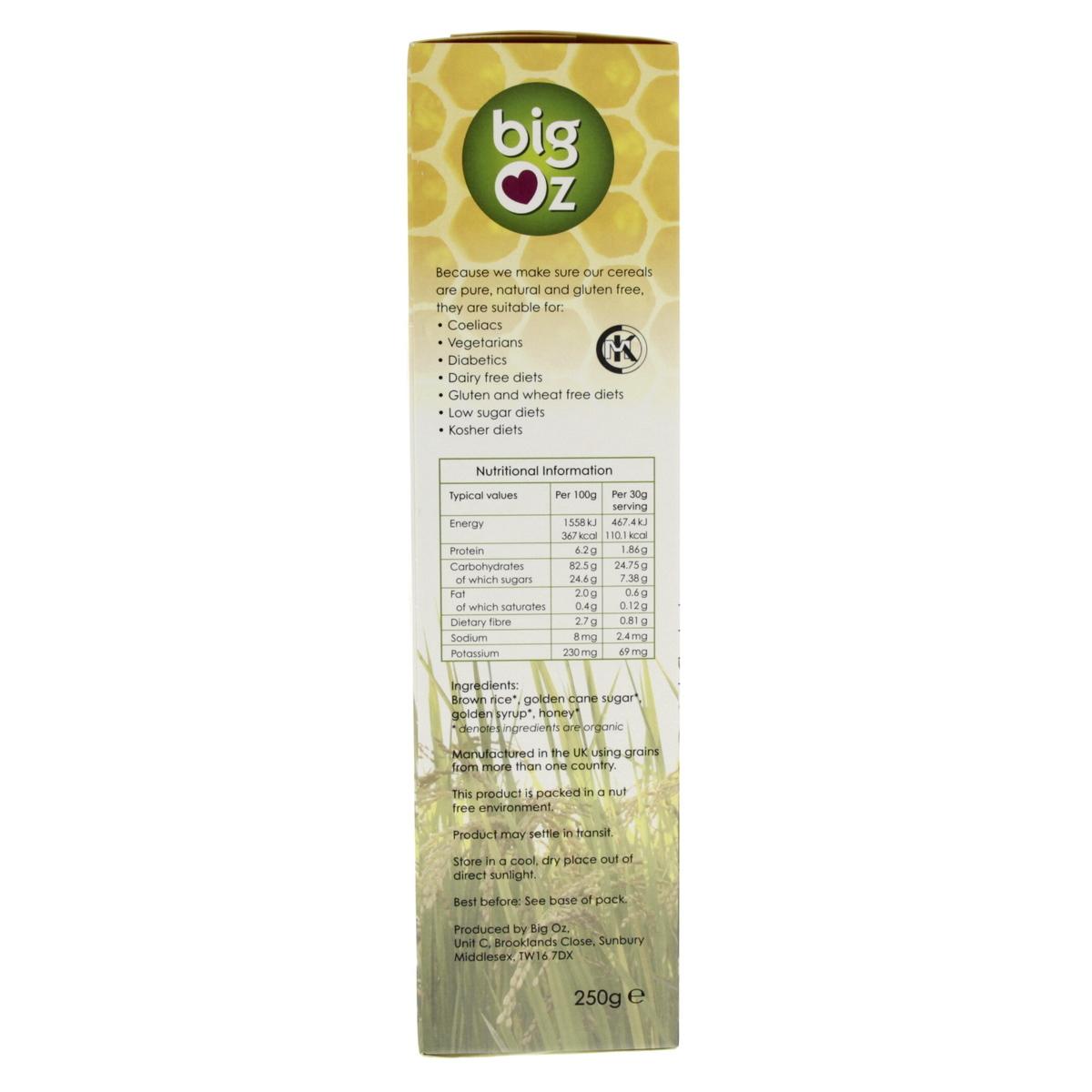 Buy Big Oz Organic Honey Brown Rice Puffs 250g - Health Cereals