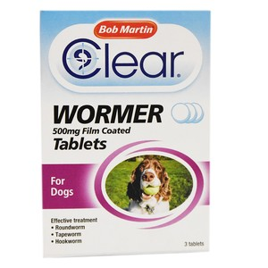 Bob Martin Clear Wormer Tablets for Dogs 500mg 3pcs