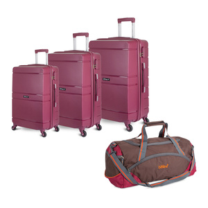 "Wagon R 4Wheel hard Trolley 4pcs Set (20""+24""+28"") + Travel Bag Assorted Color"