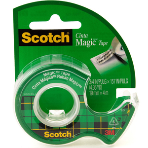 3M Scotch Magic Tape with Plastic Dispenser 19mm x 4m 1Pc