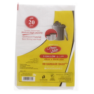 Home Mate Medium High-Density Garbage Bag 5Gallon Size 45x50cm 20pcs