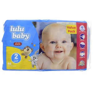 Lulu Baby Diapers Size 2, Small, 3-6kg,Value Pack 48 Counts