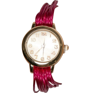 Women's Fashion Multilayer Weave Band Wrist Watch Red