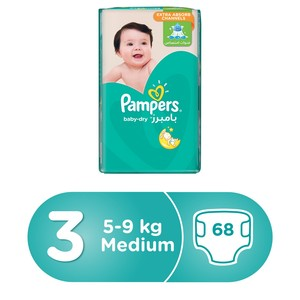 Pampers Baby-Dry Diapers, Size 3, Midi, 5-9kg, Jumbo Pack, 68 Count
