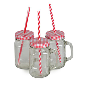Windcera Glass Jar With Lid 3pcs + Straw 30321 450ml Assorted