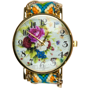 Women's Fashion Woven Band Wrist Watch Multi Color