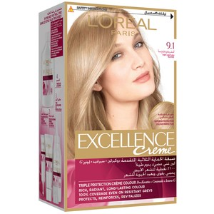 L'Oreal Paris Excellence Creme 9.1 Very Light Ash Blonde Hair Color 1 Packet