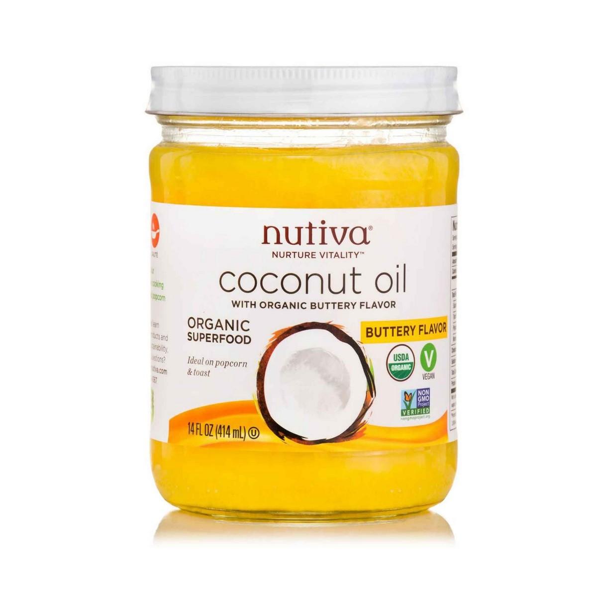 Buy Nutiva Organic Buttery Flavor Coconut Oil 414ml