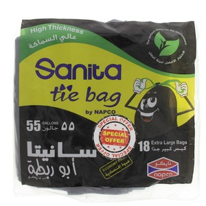 Sanita Tie Garbage Bag 55Gallon 18pcs