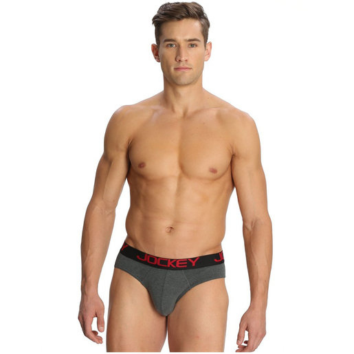 Mens Jockey Zone Stretch Bikini Brief Medium Charcoal Mel