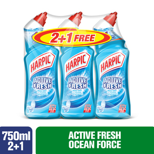 Harpic Active Fresh Ocean Force Toilet Cleaner 750ml x 3pcs