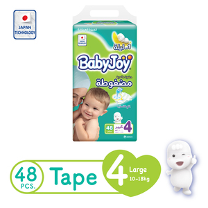 BabyJoy Compressed Tape Diaper Size 4 Large Jumbo Pack 10 - 18kg 48 Count