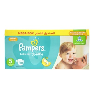 Pampers Baby Dry Size5, 11-18kg Mega Box 104 Count