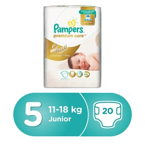Pampers Premium Care Diapers, Size 5, Junior, 11-16 kg, Mid Pack, 20 Count