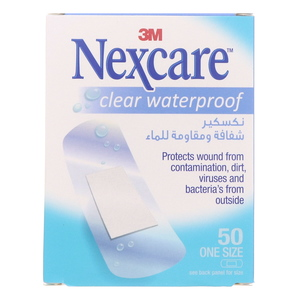 Nexcare Clear Waterproof Bandage 50Pcs