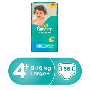 Pampers Active Baby Dry Diapers, Size 4+, Large Plus, 9-16kg, Jumbo Pack, 56pcs