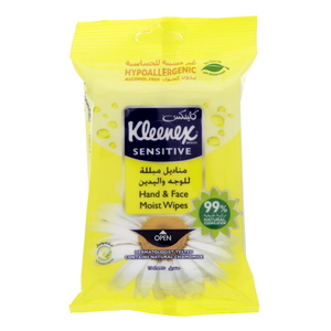 Kleenex Sensitive Hand & Face Moist Wipes 15's