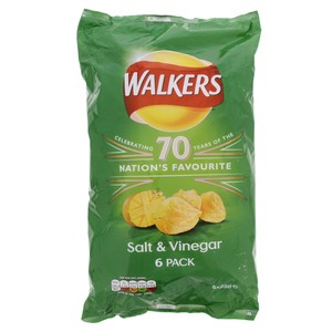 Walkers Salt & Vinegar Chips 6 X 25g