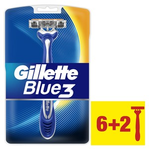 Gillette Blue3 Men's Disposable Razors 6pcs + 2