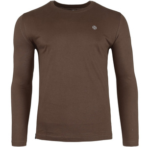 John Louis Men's Round-Neck T-Shirt Long Sleeve Coffee Brown