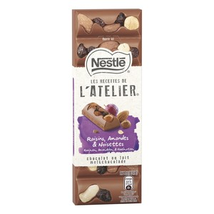 Nestle L'Atelier Smooth Milk Chocolate With Raisins Hazelnut & Almond 100g