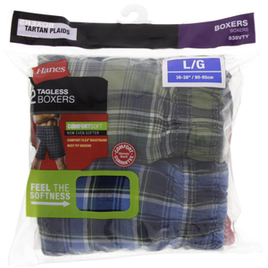 Hanes Mens Boxer Large Assorted 1x2 Piece