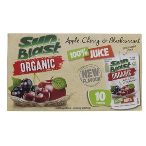 Sun Blast Organic Apple Cherry & Blackcurrant Juice 200ml x 10pcs