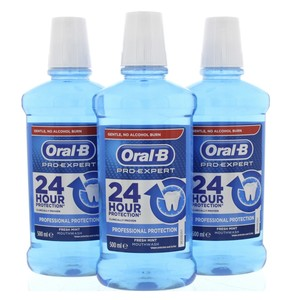 Oral B Pro Expert Professional Protection Fresh Mint Mouthwash 3 x 500ml