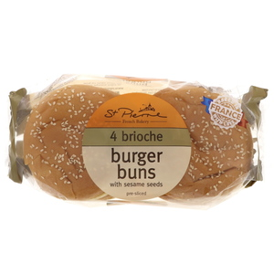 St Pierre Brioche Burger Buns With Sesame Seeds 4Pcs