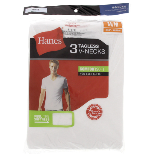 Hanes Mens T-Shirt V-Neck Medium 777 1x3 Piece