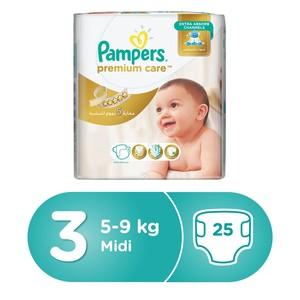 Pampers Premium Care Diapers, Size 3, Midi, 6-10 kg, Mid Pack, 25 Count