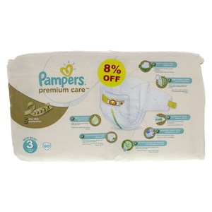 Pampers Premium Care Diapers, Medium, 4-9kg 60pcs