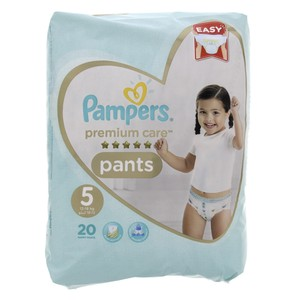 Pampers Premium Care Pants Diapers Size 5 Junior 12-18kg Carry Pack 20 Count