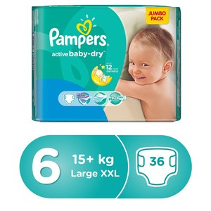 Pampers Active Baby Dry Diapers, Size 6, Extra Large, 13+ kg, Mega Pack, 36pcs