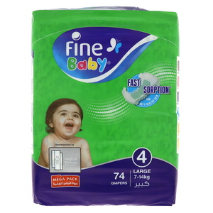 Fine Baby Diapers Size 4 Large 7-14kg Mega Pack 74pcs