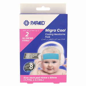 Paraid Migra Cool Cooling Headache Pads Fod Kids 2Pcs