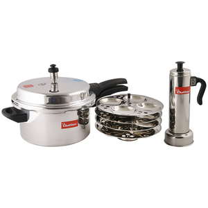 Chefline Aluminium Pressure Cooker 5 Ltr + 4 Plated Idaly Stand + Puttu Candle