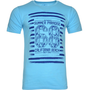 De Backers Men's Printed Round-Neck T-Shirt Sky Blue