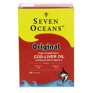 Seven Oceans Original Pure Vitamin Rich COD-Liver Oil Capsules With Omega-3 100pcs