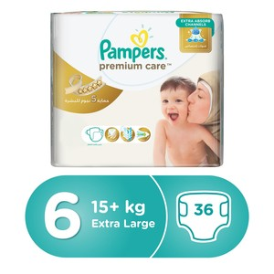 Pampers Premium Care Diapers, Size 6, Extra Large, 13+ kg, Giant Pack, 36 Count