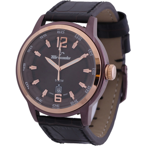 Tornado Men's Analog Watch Brown Dial Leather Band T5025-DLBDK