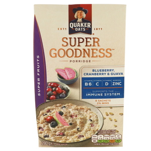 Quaker Oats Super Goodness Super Fruits Blueberry, Cranberry And Guava Cereal 280g