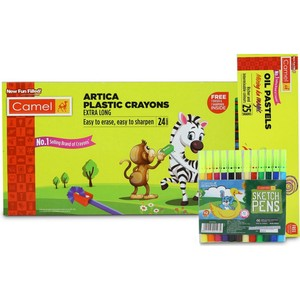 Camel Plastic Crayons 24pcs + Oil Pastels 24pcs + Sketch Pen 12pcs