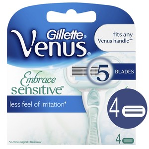 Gillette Venus Embrace Sensitive Women's Razor Blade Refills, 4 Count