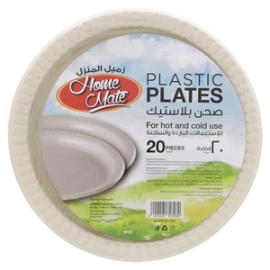 Home Mate Plastic Plate Ivory 9inch x 20pcs